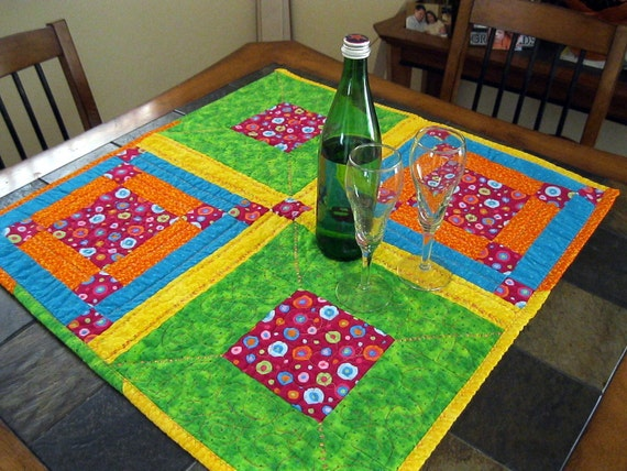 Table Runner Lime Pink Yellow Bright Tablecloth Table Linen
