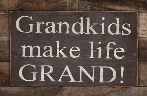 Large Wood Sign Grandkids Make Life Grand Subway Sign
