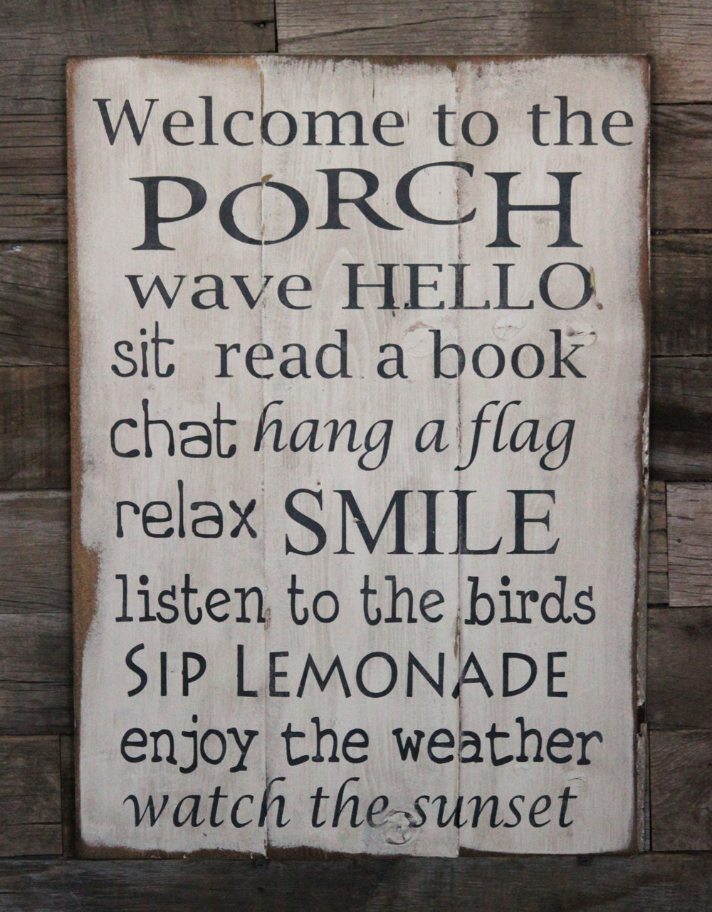 Large wood sign welcome to the porch subway sign for The country porch com