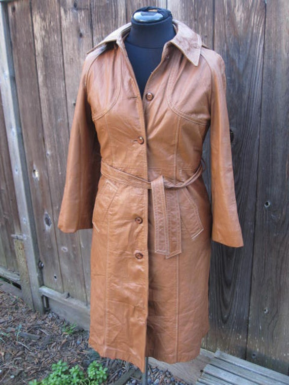 Vintage Fabulous 70s Brown Hooded Trench Coat Size: Small