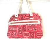 Red, White, & Black VINTAGE Hankerchief / Bandana  Purse / Shoulder Bag