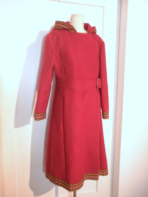 Vintage Coat //  Red Wool Coat with Hood and Guitar Strap Ribbon Trim and Asymetrical Front, Large