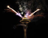 8 x 10 photo of New Year's fireworks over the Space Needle, Seattle, Washington, USA