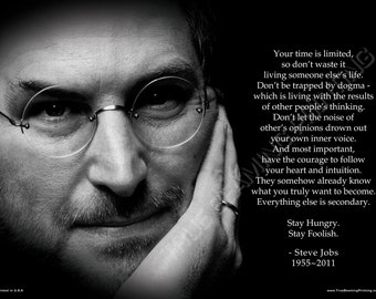 """18""""x24"""" - STEVE JOBS """"Your time is limited"""" Premium Poster, Aqueous Gloss Coated"""