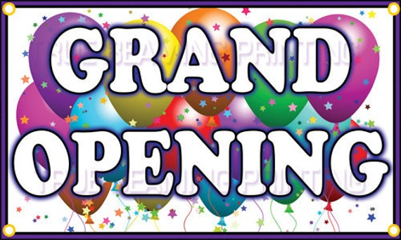 3ft x 5ft Business GRAND OPENING BANNER sign with by Blooming4ever: etsy.com/listing/87812220/3ft-x-5ft-business-grand-opening-banner