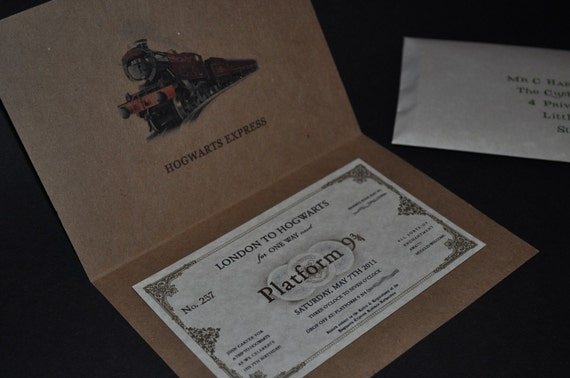Invitation - Harry Potter Hogwarts Express Train ticket / Ticket Cover
