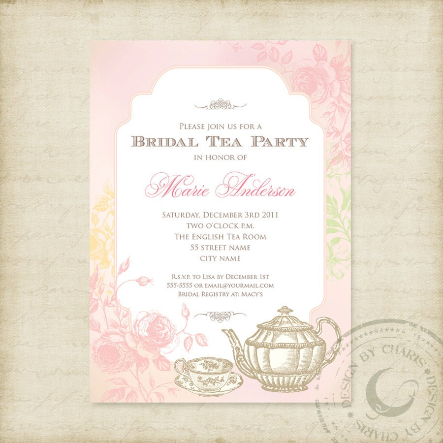 Shabby chic bridal tea party printable invitation for Tea party menu template