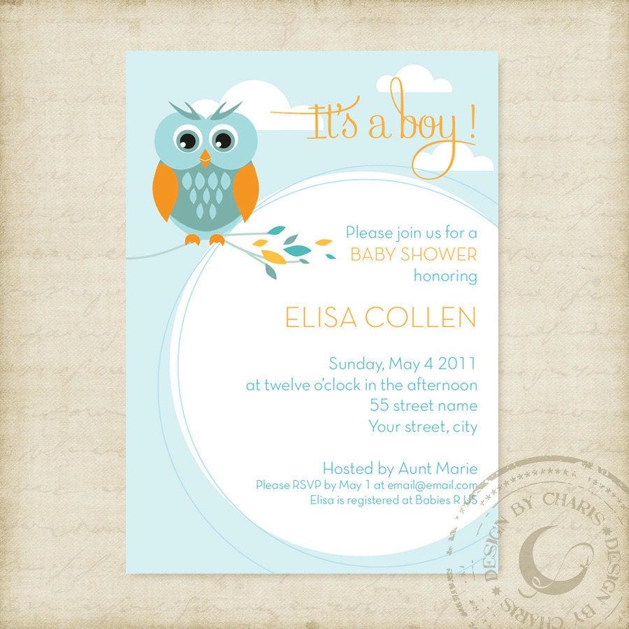 Create Invitation Template: Baby Shower Invitation Template Owl Theme Boy Or Girl