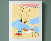 """Art Print Fly me to the Moon 8x10"""" original illustration, me over the rooftops"""