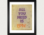 All you need is LOVE, The Beatles Quotes, Valentines Day Decor, Gift, Love Art, Love print, blue red sand, Beatles inspired Modern art print