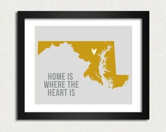 Customizable Maryland Map Travel Print Home is where the heart is I heart USA SALE buy 2 get 3 Map Poster Modern Home Decor, Wall Art,