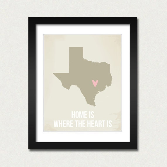 Texas Customized 8 x 10 Home is where the heart is Travel Map I heart USA SALE buy 2 get 3