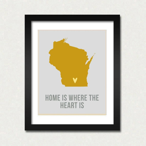 Wisconsin Home is Art Print 8 x 10 inch Travel Map I heart USA SALE
