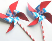 Patriotic Chevron Red, White and Blue Paper Pinwheels onPaper Straws Set of 4