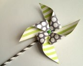 Lime Green and Gray Paper Pinwheels on Paper Straws set of 4
