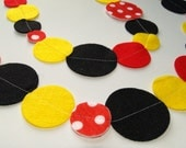 Red, Yellow and Black with Polka Dots Felt Garland with Bakers Twine
