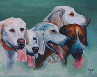 "Five hounds in an giclee or print portrait titled ""Foxhounds Waiting""."
