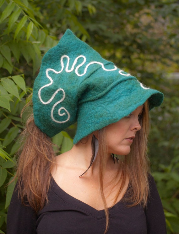 Wet felted Medicine Hat in teal with white swirl