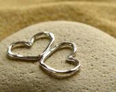 Petite Silver Heart Bracelet Charm | Necklace Pendant | Love Heart Connector - 1 Pair