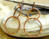 Copper | Silver | Gold Filled Linked Circle Drops - 1 Pair