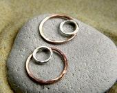 Silver & Copper Circle Connectors - 1 Pair