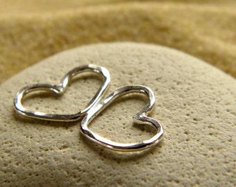 Petite Silver Heart Bracelet Charm   Necklace Pendant   Love Heart Connector - 1 Pair