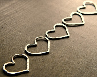 Silver Heart Connectors - Pack of 10
