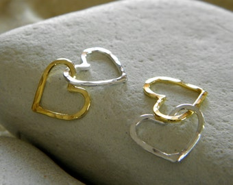 Linked Petite Hearts in Vermeil & Silver - 2 Sets