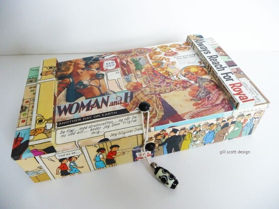 Retro Jewelry Box - Another Day On Earth - decoupage box