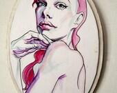 """Pink Esther -7.5""""x5.5"""" oval, original illustration"""