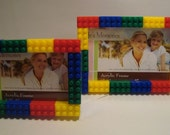 Lego style set of 2 picture frames, Boy's bedroom decor, stocking stuffer, birthday gift