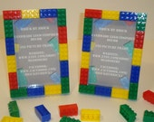 Lego themed boy's bedroom decoration picture frame set of (2), 4x6 size, red, blue, green, yellow building blocks, teacher's gifts
