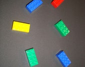 Lego inspired brick magnet set of 100 refrigerator magnets, party favors for birthday, goody bags, treat bags