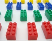 Lego themed Children's birthday party favor building block brick set of 24 refrigerator magnets, teacher's gifts, goody or treat bags