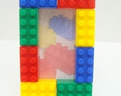 Building block birthday party favor picture frame set of 20, free personalization available - red, yellow, green, & blue