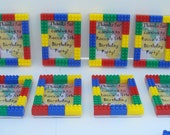 LEGO inspired kids birthday party favor 3x5 MAGNETIC picture frame set of (30) - treat bags and teacher gifts, free personalization
