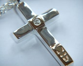 Handmade 925 Sterling Silver Cross Necklace With 9k yellow Gold Bars and 0.03ct Diamond Chain Necklace