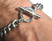 Chunky Handmade Bracelet 925 Solid Silver Curb Chain Cross design