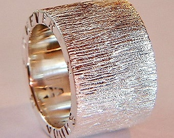 Handmade Silver Ring Chunky Silver Rings with Sparkly Etch Design Personalised Jewellry