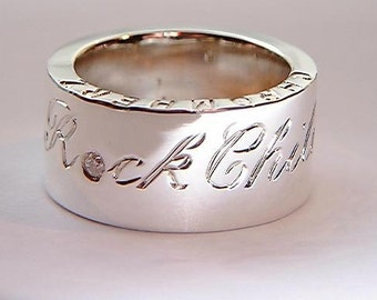 Personalised Chunky 925 Sterling Silver Ring With Rock Child Script and Diamond 0.05ct
