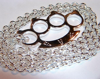 Handmade Sterling 925 Silver Knuckle Duster Pendant & Chain Brass Knuckles Necklace
