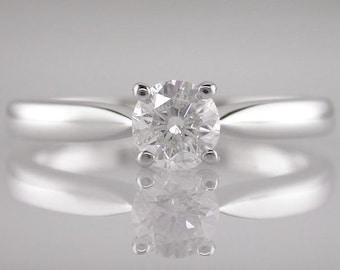 Engagement Ring Diamond Brilliant Round Cut 0.40ct F Colour VS2 Clarity 18k White Gold