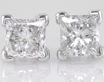Diamond Earrings Princess cut 0.30ct G Colour SI1 Clarity 18k White Gold Ladies studs