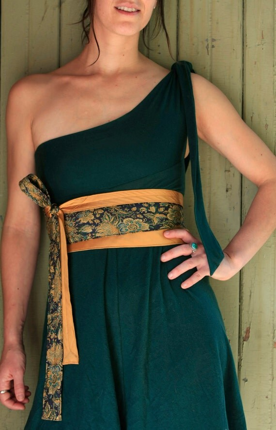 Limoncello - Obi Corset Belt Recycled Silk Ties Yellow Gold Teal Plum