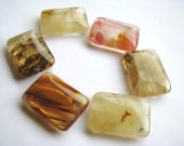 """LAST 4 Beads - Multi Color Volcano Quartz Smooth Rectangle Focals - approx. 1"""" L, 3/4"""" W, (25 x 18mm)"""