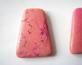 """1 Focal Bead, Pretty Rose Pink Turquoise, Dyed Howlite Gemstone, Smooth Trapezoid Pendant Bead - approx. 1 1/2"""" L., 1 1/4"""" W (40x30mm)"""