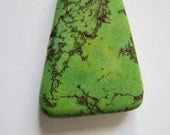 """Large Green Turquoise Focal Bead, Copper Veins, Dyed Howlite Gemstone, Smooth Flat Pendant Bead, Drilled Beads - approx. 1 1/2"""" Long, 4x3cm"""