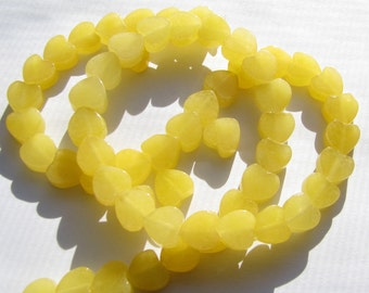 "Valentines Day Jewelry Designs, 8 Small Heart Beads, 4 Pink Hearts, 4 Yellow Hearts, Jade Smooth Puffy Heart Shaped Beads, app. 3/8"" (9x8mm)"
