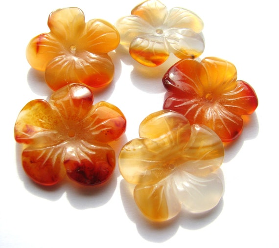 "2 Focal Beads - Gorgeous Large Orange Carnelian Carved Flowers, Natural Gemstone - approx. 1"" diameter, 25mm"