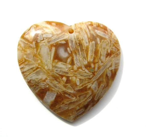 """Large Saffron Yellow Bamboo Agate Gemstone Smooth Heart Focal Bead - approx. 1 7/8"""" W, (47x47mm)"""